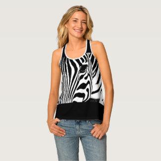 Zebra portrait black and white tank top