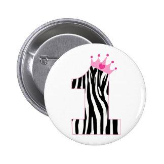 Zebra Princess 1st Birthday 2 Inch Round Button