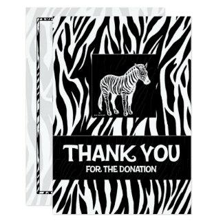 "Zebra Print 3.5"" x 5"" Donation Thank You Card"