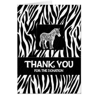 "Zebra Print 4""x5.6"" Donation Thank You Notecard"