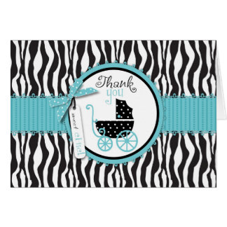 Zebra Print and Baby Carriage Thank You Card