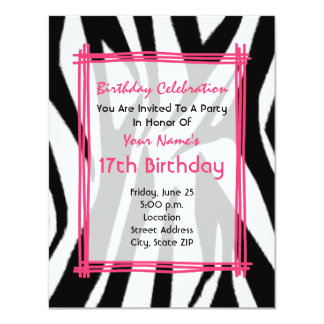 Zebra Print And Hot Pink Fashion Birthday Invite