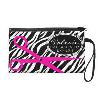 Zebra Print and Hot Pink Hair Shears Custom Wristlet Purse