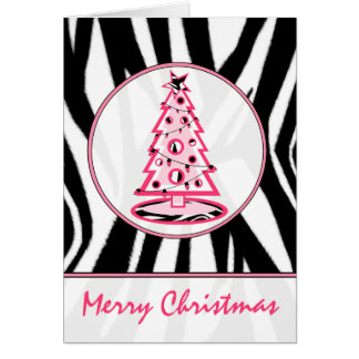 Zebra Print and Pink Christmas Tree Card