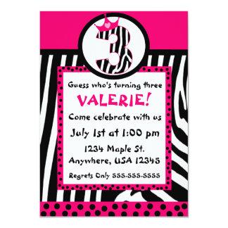 Zebra print and pink diva 3rd birthday invitation