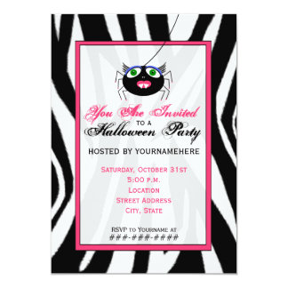 Zebra Print and Pink Girl Spider Halloween Party Card