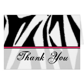 Zebra Print and Pink Thank You Card