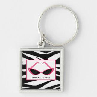 Zebra Print And Retro Pink Sunglasses Keychain