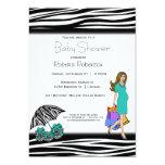 Zebra Print And Teal Shopping Mommy Custom Invites