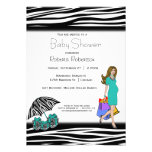 Zebra Print And Teal Shopping Mommy Custom Invitations