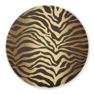 Zebra Print Animal Skin Print Modern Glam Gold Ceramic Knob