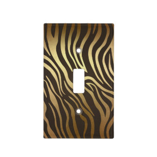 Zebra Print Animal Skin Print Modern Glam Gold Light Switch Cover