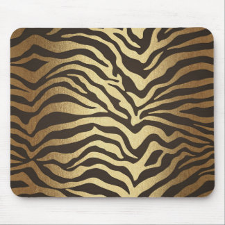 Zebra Print Animal Skin Print Modern Glam Gold Mouse Pad