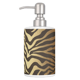 Zebra Print Animal Skin Print Modern Glam Gold Soap Dispenser And Toothbrush Holder