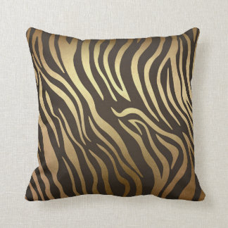 Zebra Print Animal Skin Print Modern Glam Gold Throw Pillow