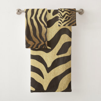 Zebra Print Animal Skin Skins Gold Glam Modern Bath Towel Set