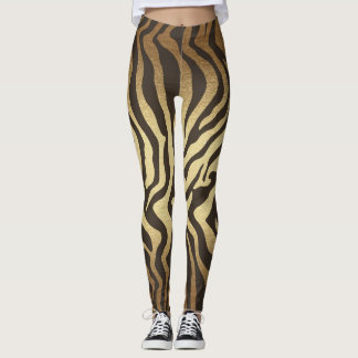 Zebra Print Animal Skins Gold Ombre Leggings