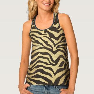 Zebra Print Animal Skins Gold Ombre Tank Top