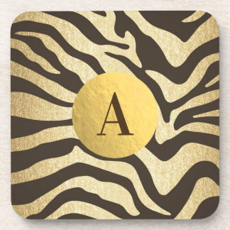 Zebra Print Animal Skins Skin Modern Glam Gold Coaster
