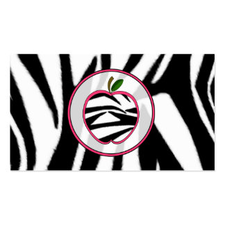 Zebra Print Apple Fashion Teacher Business Card