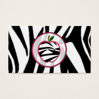 Zebra Print Apple Fashion Teacher Business Card