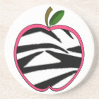 Zebra Print Apple Teacher Coaster