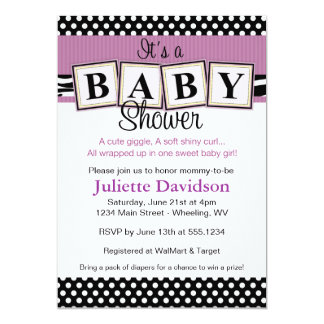 Zebra Print Baby Blocks Baby Shower Invitation