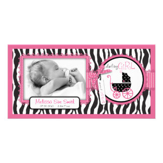 Zebra Print & Baby Carriage Announcement Card