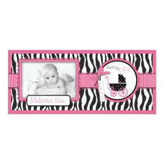 Zebra Print & Baby Carriage Photo Announcement