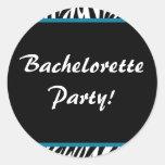 zebra print bachelorette round sticker