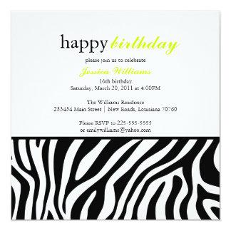 "Zebra Print Birthday 5.25"" Square Invitation Card"