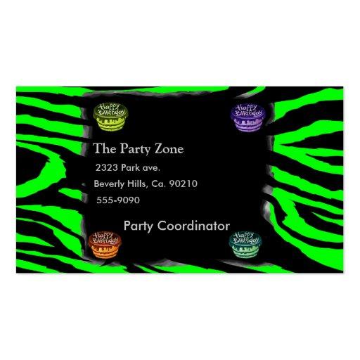 Zebra Print & Birthday Cakes Business Card