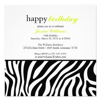 Zebra Print Birthday Custom Announcements