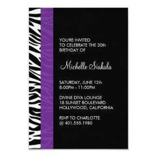 "zebra print birthday party 3.5"" x 5"" invitation card"
