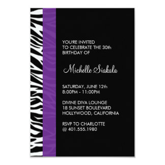 zebra print birthday party card
