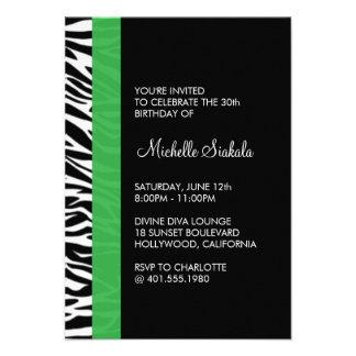zebra print birthday party invitations
