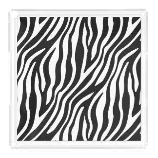 Zebra Print Black And White Stripes Pattern Acrylic Tray