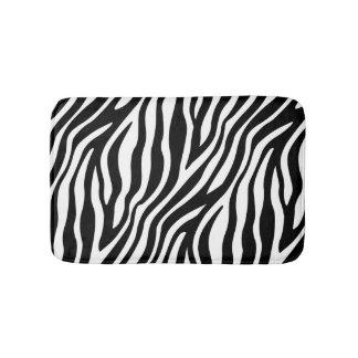Zebra Print Black And White Stripes Pattern Bath Mat