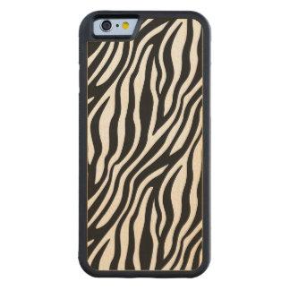Zebra Print Black And White Stripes Pattern Carved Maple iPhone 6 Bumper Case