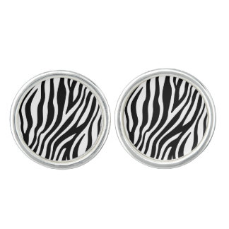 Zebra Print Black And White Stripes Pattern Cufflinks