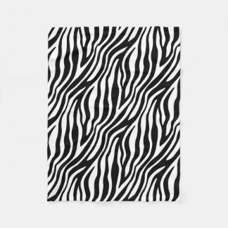 Zebra Print Black And White Stripes Pattern Fleece Blanket