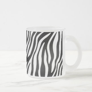 Zebra Print Black And White Stripes Pattern Frosted Glass Coffee Mug