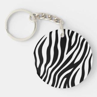 Zebra Print Black And White Stripes Pattern Keychain