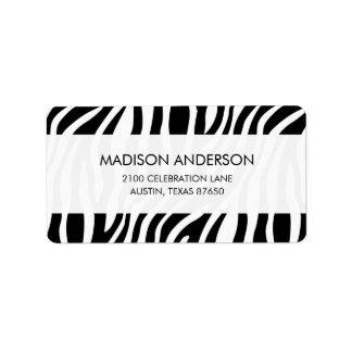 Zebra Print Black And White Stripes Pattern Label