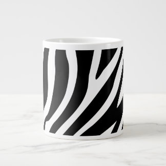 Zebra Print Black And White Stripes Pattern Large Coffee Mug