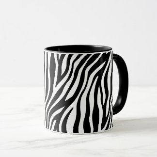 Zebra Print Black And White Stripes Pattern Mug