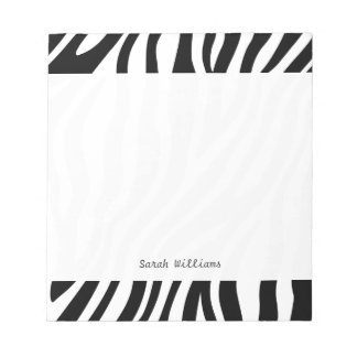 Zebra Print Black And White Stripes Pattern Notepad