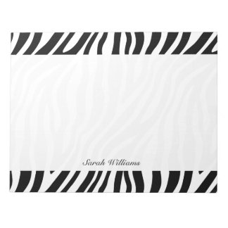 Zebra Print Black And White Stripes Pattern Notepads