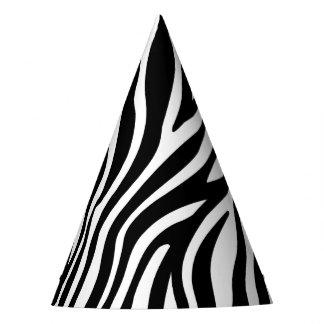 Zebra Print Black And White Stripes Pattern Party Hat