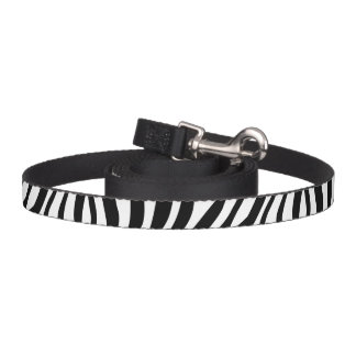 Zebra Print Black And White Stripes Pattern Pet Leash